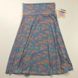 NEW LulaRoe Azure Skirt Blue Pastel Patterned Mid